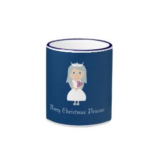 Cute Princess & Christmas Trees Blue & White Mug