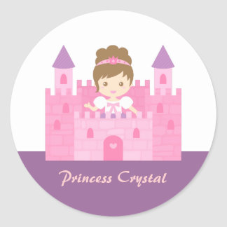 Cute Princess Girl in Pink Castle Fairytale Classic Round Sticker