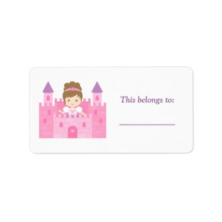 Cute Princess Girl in Pink Castle Label