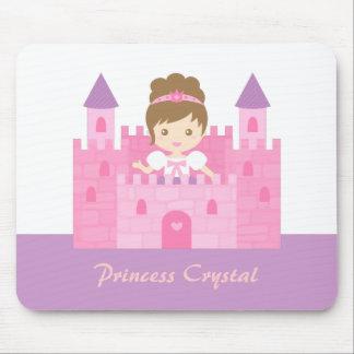 Cute Princess Girl in Pink Castle Mousepads