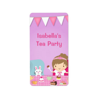 Cute Princess Girl Tea Party Birthday Label