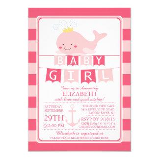 Cute Princess Whale Girl Baby Shower Invitation