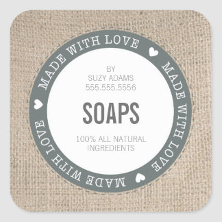 CUTE PRODUCT LABEL made with love burlap fabric Square Sticker