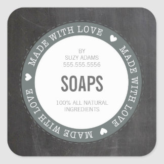 CUTE PRODUCT LABEL made with love chalkboard gray Square Sticker