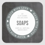 CUTE PRODUCT LABEL made with love chalkboard grey Square Sticker