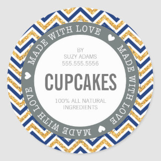 CUTE PRODUCT LABEL made with love chevron glitter Classic Round Sticker