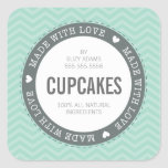 CUTE PRODUCT LABEL made with love chevron mint