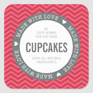 CUTE PRODUCT LABEL made with love chevron red Square Sticker