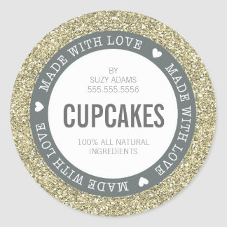 CUTE PRODUCT LABEL made with love glitter gold Round Sticker