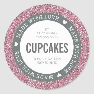 CUTE PRODUCT LABEL made with love glitter pink Classic Round Sticker