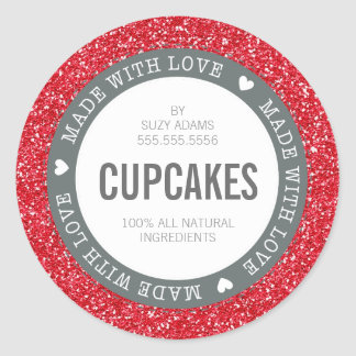 CUTE PRODUCT LABEL made with love glitter red Round Sticker
