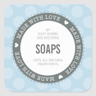 CUTE PRODUCT LABEL made with love polka dot blue Square Sticker
