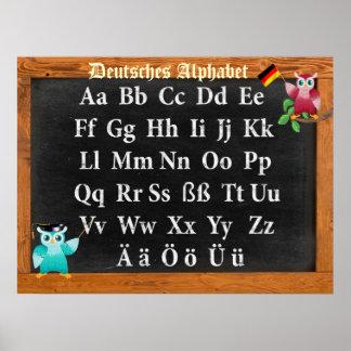 Cute Professor Owl German Deutsches Alphabet Poster