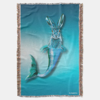 Cute Psychedelic Haremaid Mermaid Hare Mix Funny Throw Blanket