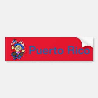 Cute Puerto Rico Character w/ Flag Bumper Sticker