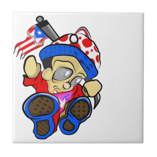 Cute Puerto Rico Character w/ Flag Ceramic Tile
