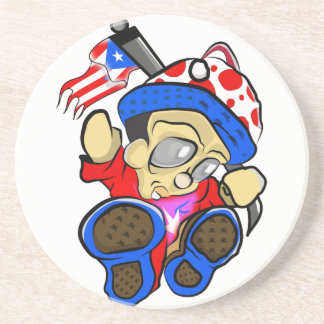 Cute Puerto Rico Character w/ Flag Coaster