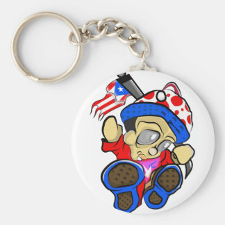 Cute Puerto Rico Character w/ Flag Key Ring