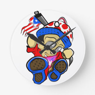 Cute Puerto Rico Character w/ Flag Round Clock