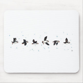 Cute puffins flying mouse pad