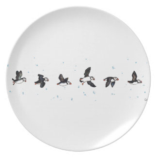 Cute puffins flying plate