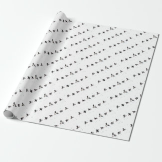 Cute puffins flying wrapping paper