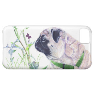 Cute Pug and Butterfly Art iPhone 5 Case
