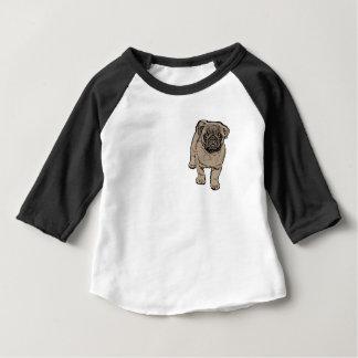 Cute Pug Baby 3/4 Sleeve Raglan T-Shirt -Black