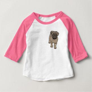 Cute Pug Baby 3/4 Sleeve Raglan T-Shirt -Pink
