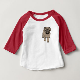 Cute Pug Baby 3/4 Sleeve Raglan T-Shirt -Red