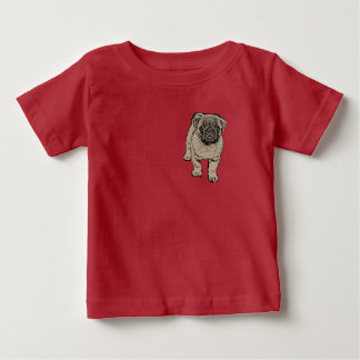 Cute Pug Baby Jersey T-Shirt -Red