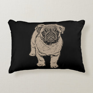 "Cute Pug Brushed Accent Pillow 16"" x 12"" -Black"