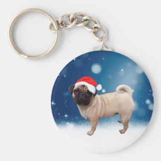 Cute Pug Dog Christmas Santa Hat Snow Stars Key Ring