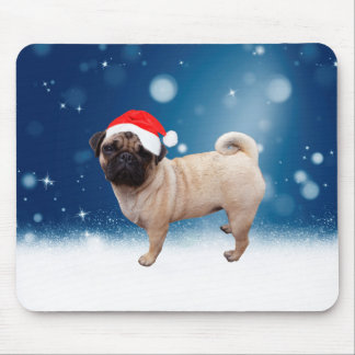 Cute Pug Dog Christmas Santa Hat Snow Stars Mouse Pad
