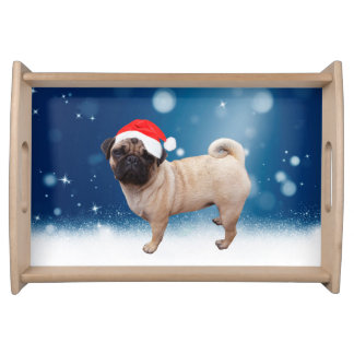 Cute Pug Dog Christmas Santa Hat Snow Stars Serving Tray
