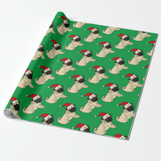 Cute Pug Dog in Santa Hat Christmas Cartoon Wrapping Paper