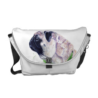 Cute Pug Dog Rickshaw Messenger Bag
