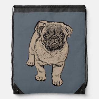Cute Pug Drawstring Backpack - Grey