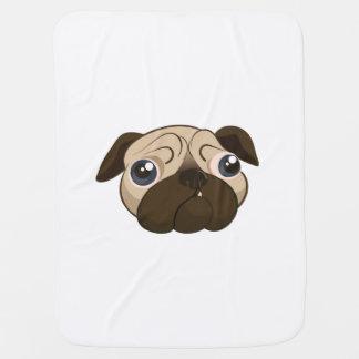 Cute Pug Face Receiving Blankets
