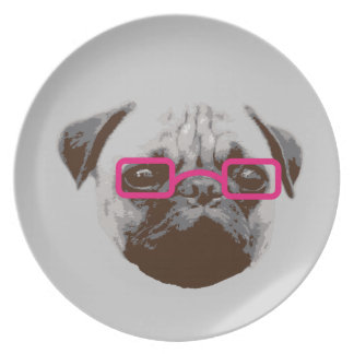 Cute Pug Hipster with Pink Glasses Plate
