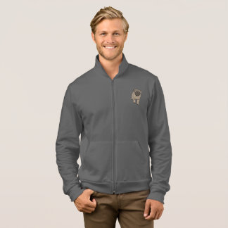 Cute Pug Men's American Apparel Zip Jogger -Grey Jacket