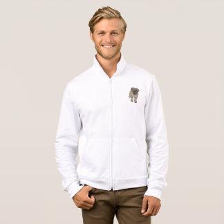 Cute Pug Men's American Apparel Zip Jogger -White Jacket