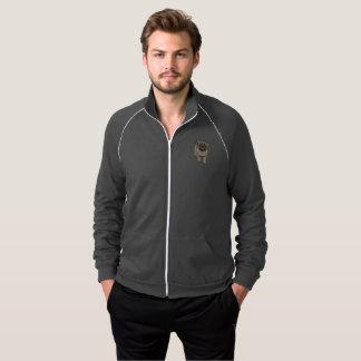 Cute Pug Men's Fleece Track Jacket -Grey