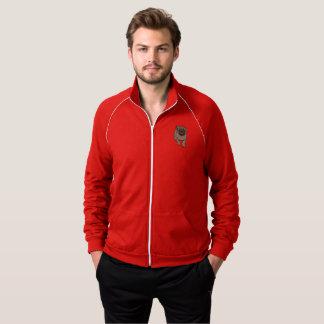 Cute Pug Men's Fleece Track Jacket -Red