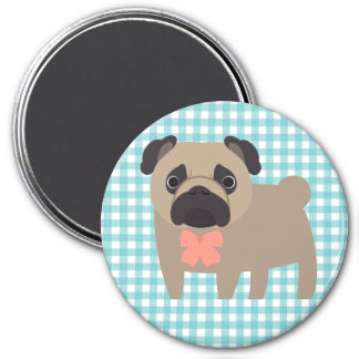 Cute Pug on Blue and White Gingham Design 7.5 Cm Round Magnet