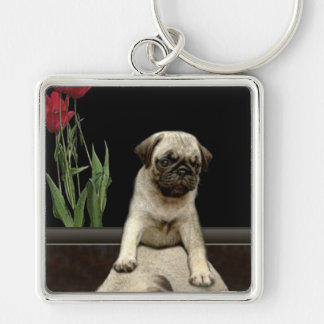 Cute Pug Puppy Dog-lovers Gift Series Silver-Colored Square Key Ring