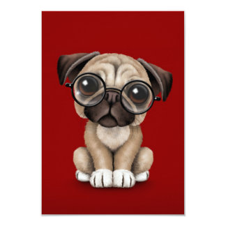 Cute Pug Puppy Dog Wearing Reading Glasses, Red 9 Cm X 13 Cm Invitation Card