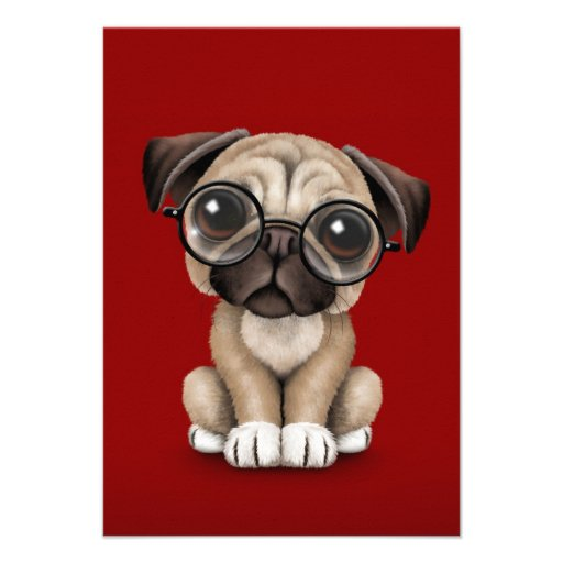 Cute Pug Puppy Dog Wearing Reading Glasses, Red Custom Invites