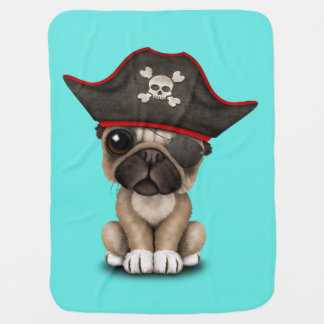Cute Pug Puppy Pirate Baby Blanket