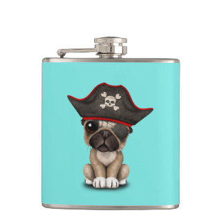 Cute Pug Puppy Pirate Hip Flask